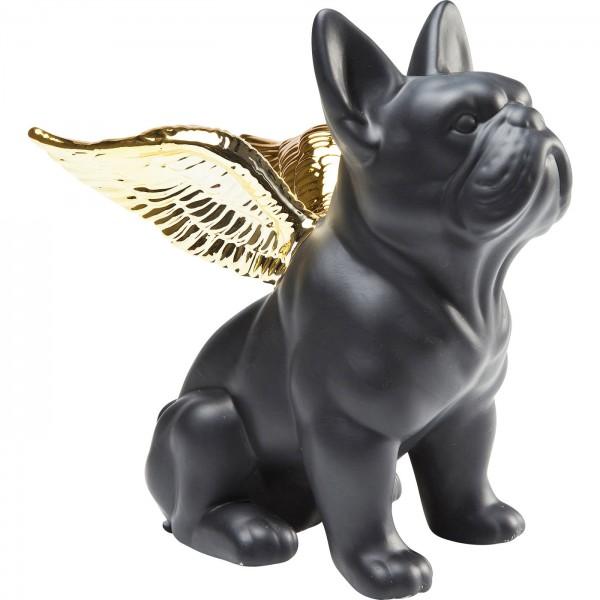 Deco Figure Sitting Angel Dog Gold-Black