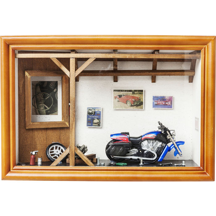 deko schaukasten garage motorbike dekoration accessoires. Black Bedroom Furniture Sets. Home Design Ideas