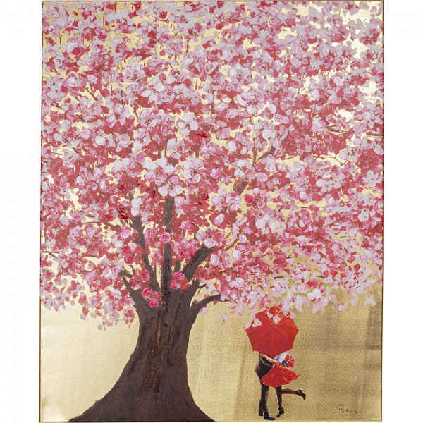 Image Touched Flower Couple Gold Pink 100x80