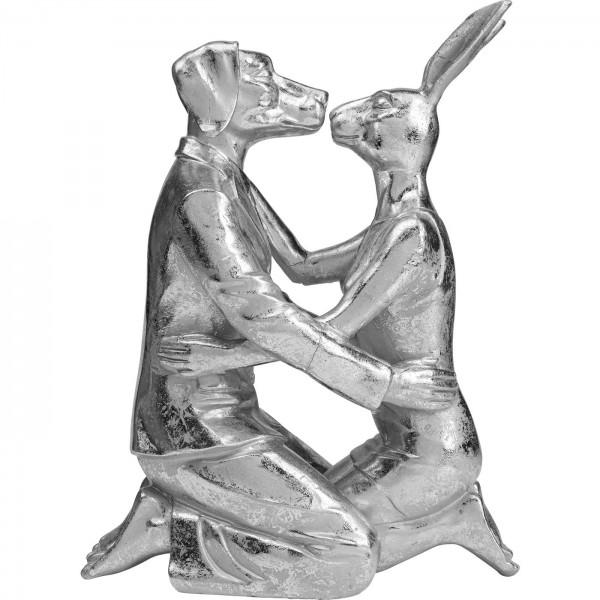 Deko Objekt Kissing Rabbit and Dog Silber