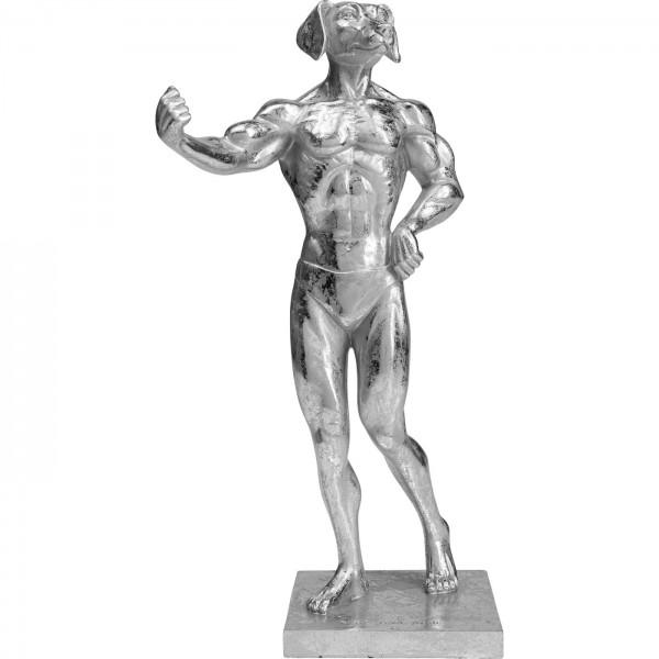 Deko Objekt Muscle Dog Silber