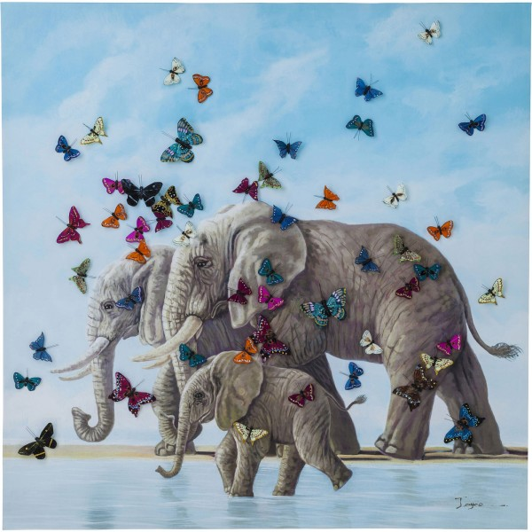 Image Touched Éléphants avec Butterflies 120x120cm