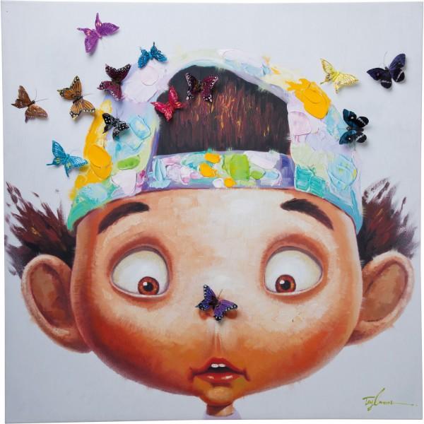 Bild Touched Boy with Butterflies 100x100cm