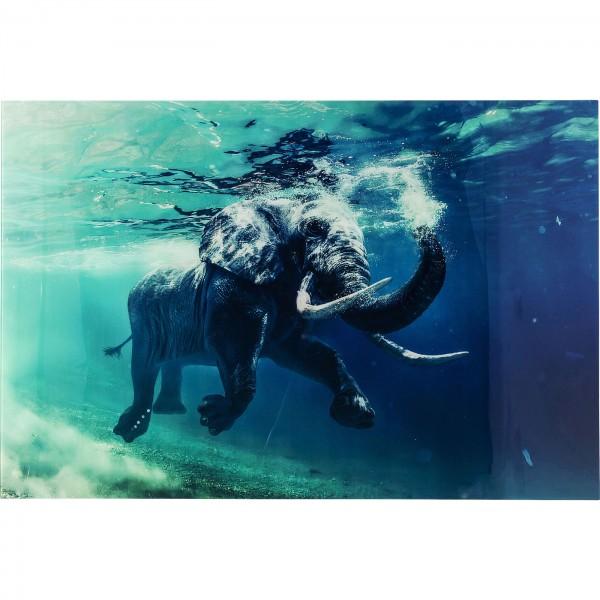 Bild Glas Swimming Elephant 180x120cm