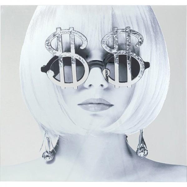 Image verre métallisé Dollar Girl 120x120