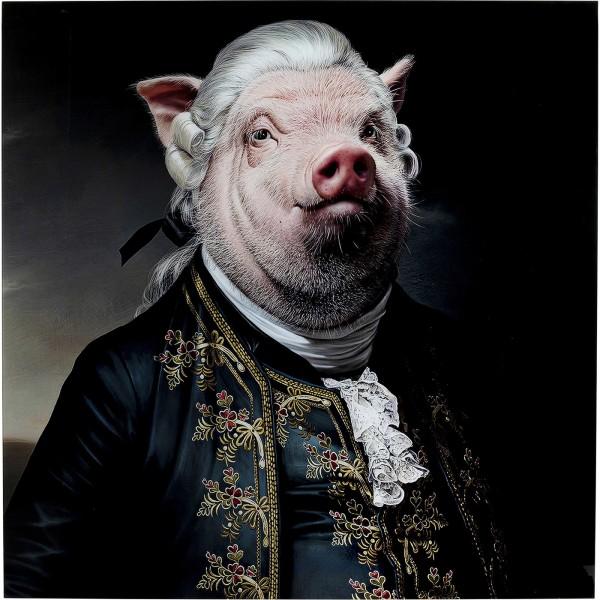 Bild Glas Gentleman Pig 120x120