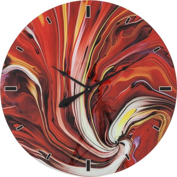 Horloge murale Verre Chaos Fire Ø80cm