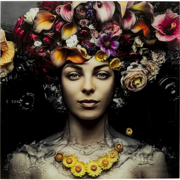 Image Verre Fleur d'art Lady 80x80cm
